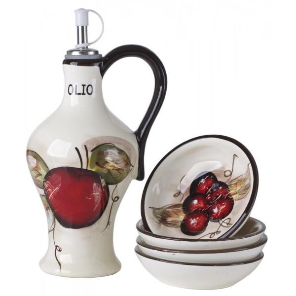 Cucina Italiana Ceramic Olive Oil Dispenser Cruet with 4 Dipping Plates