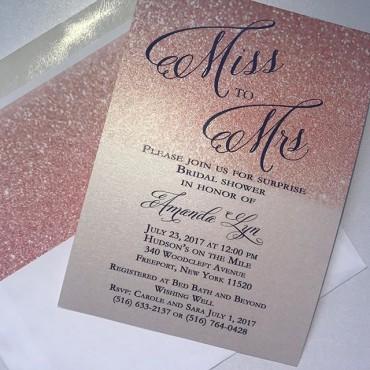 Rose Gold Glitter Invitations