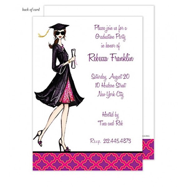 Gorgeous Grad - Brunette Invitation