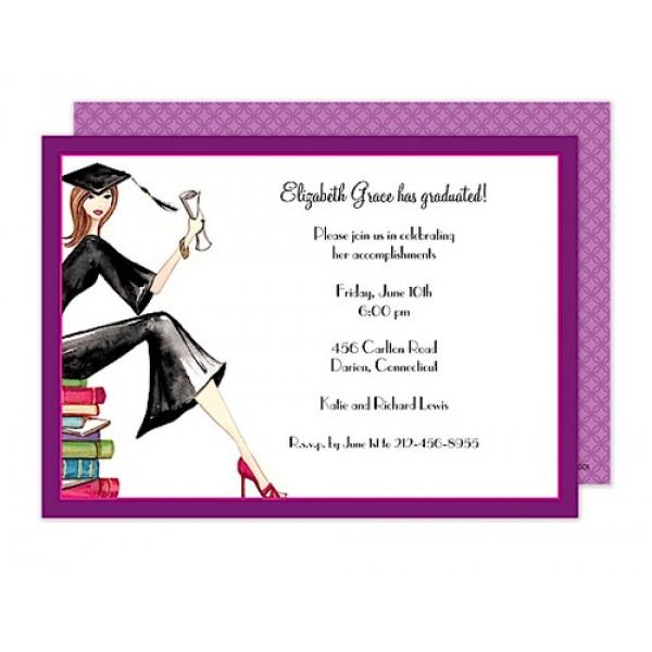 Grad on Books Invitation
