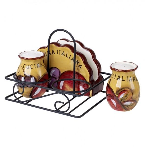 Cucina Italiana Ceramic 3 Piece Kitchen Condiment Set