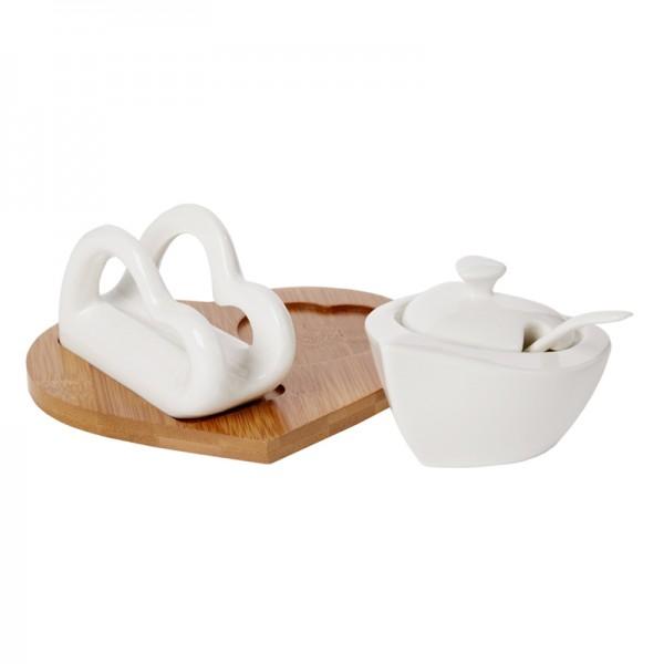 Debora Carlucci Porcelain Napkin And Sugar Holder Set On Wood Base