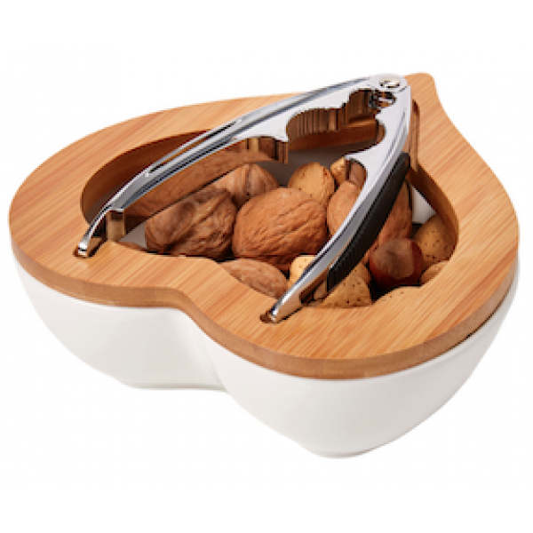 Debora Carlucci Heart Shaped Nutcracker and Bowl Set Porcelain and Wood trim