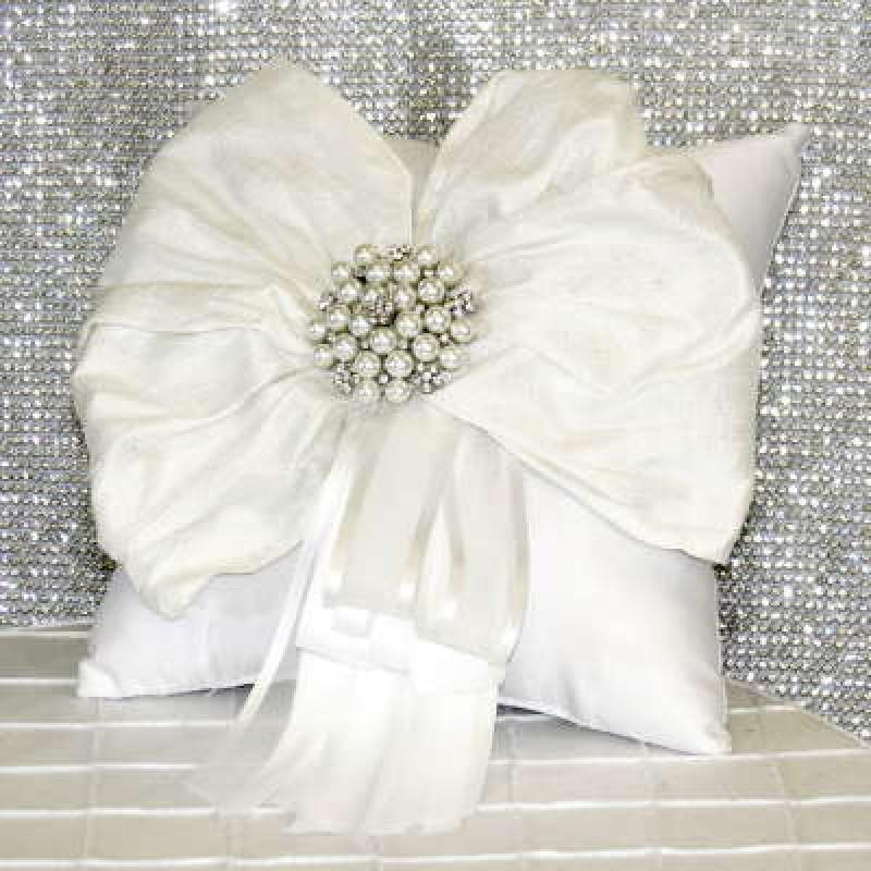 "Ring Pillow - 6"" Square White Satin, Silk & Pearls"