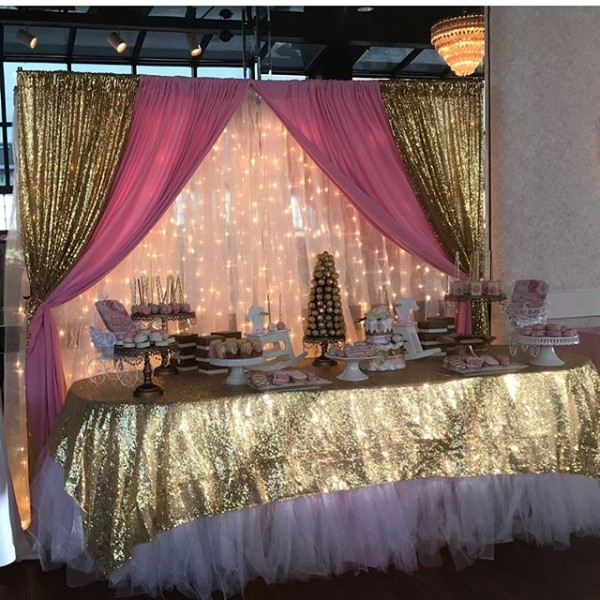 Pink and gold dessert tables