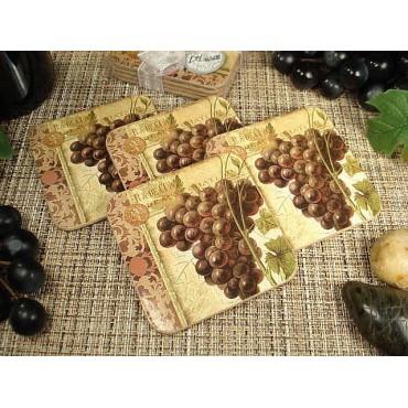 WC17 - 4pc wood cork coaster set Grapes