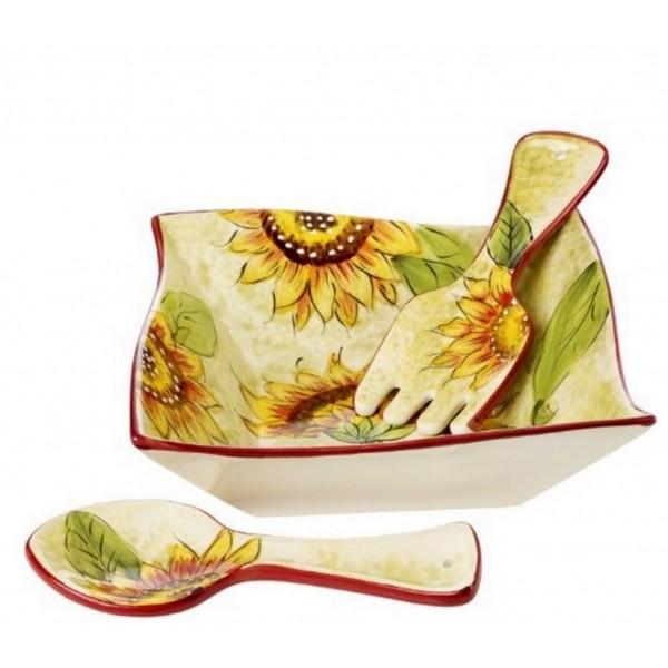 Cucina Italiana Ceramic Deep Salad Bowl Set Sunflower Decor #0794-514