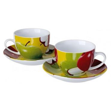 Porcelain Colorful Cups And Saucers Set Apple Design #10105-46