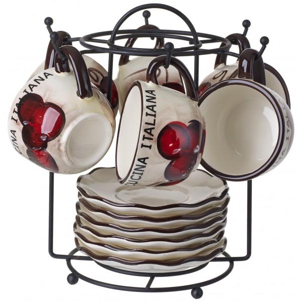 Cucina Italiana Ceramic 12pc Espresso Set With Stand #1422-534