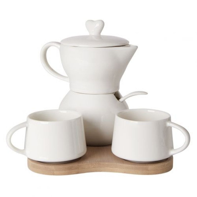 Debora Carlucci White Porcelain Sugar And Creamer - with Espresso Cups Set On Bamboo Tray #4557-G