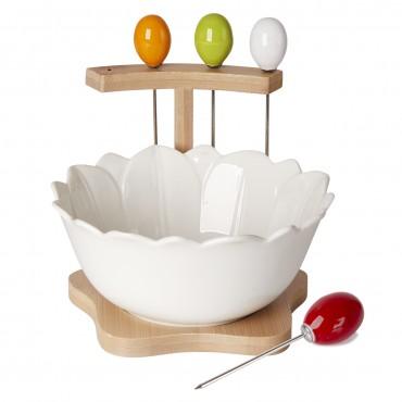Debora Carlucci White Porcelain Antipasto Bowl w/ Picks #DC4924