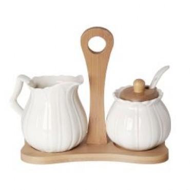Debora Carlucci White Porcelain Sugar and Creamer Set #DC4926