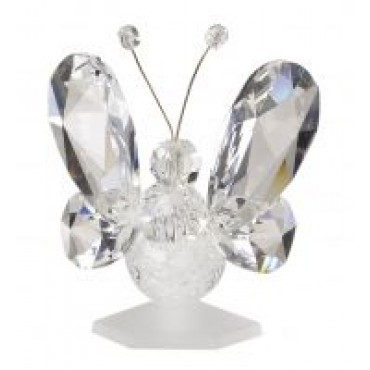 Italian 24% Crystal And Murano Clear Butterfly Figurine#12557