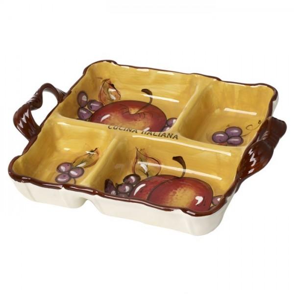 Cucina Italiana Fruit Decor 4 Section Serving Platter #1300-534