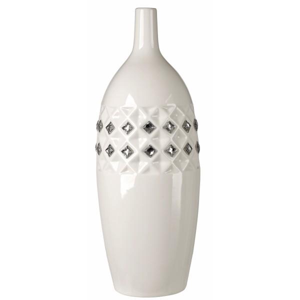 White Italian Bone China Vase Centerpiece w. Swarovski Crystal Elements #130231