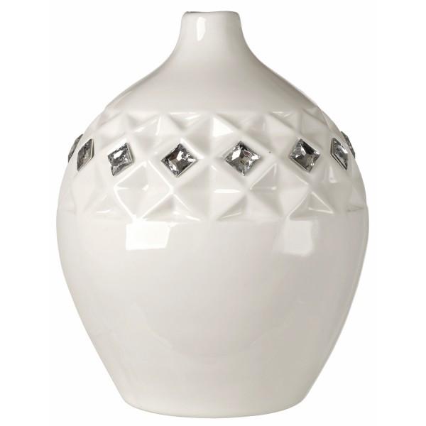 Italian White Bone China Vase w. Swarovski Crystal Elements#130232