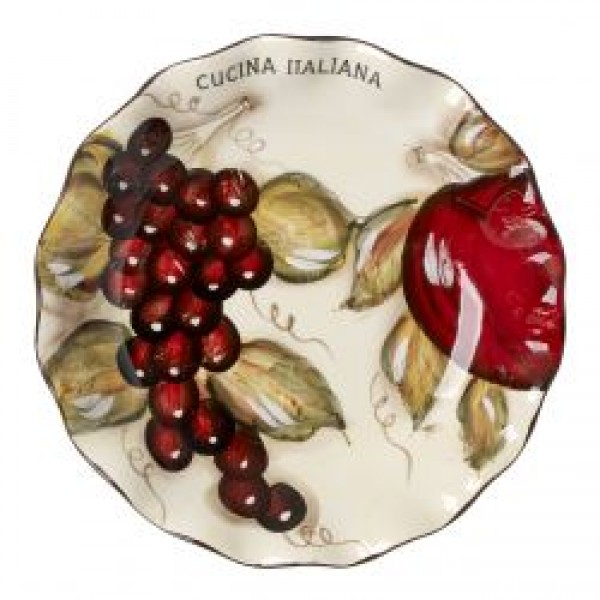 Cucina Italian Ceramic 3 Section Appetizer Oval Serving Tray #0041-562