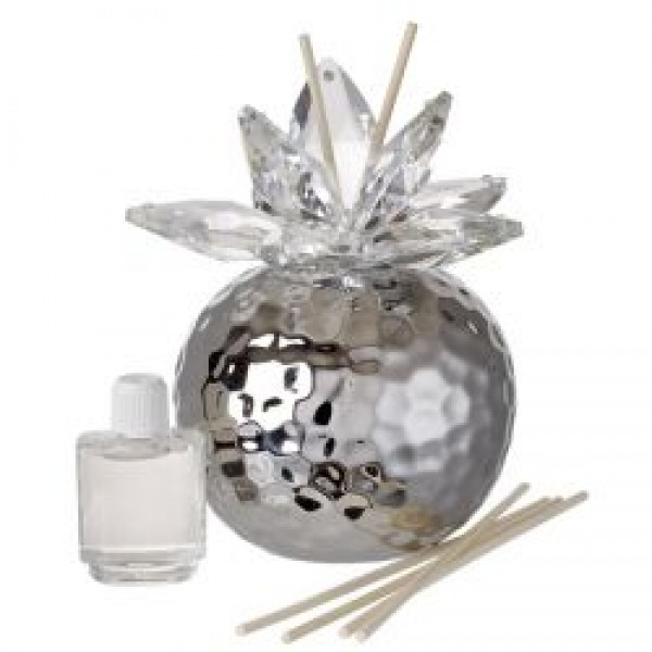 Italian Silver Hammered Finish Aromatherapy Diffuser,Crystal Lotus Top w/ Wood Wicks #33131