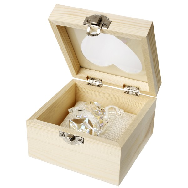 Crystal Swan in See Through Wood Box #4116
