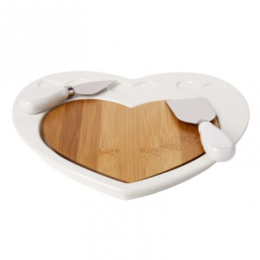 Debora Carlucci White Porcelain and Wood 3pc Cheese Cutting Board #4556