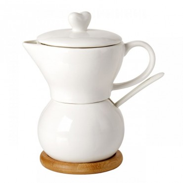 Debora Carlucci White Porcelain Creamer and Sugar Holder in One with Spoon on Wood Base # 4557