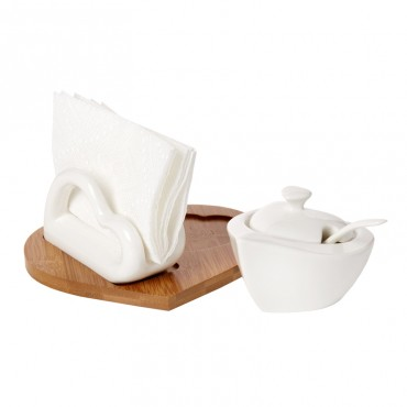 Debora Carlucci White Porcelain Napkin And Sugar Holder Set On Bamboo Base #DC4561