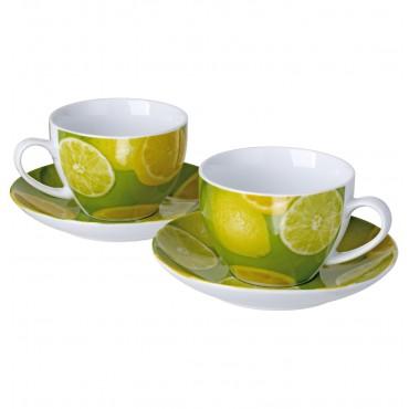 Original Cucina Italiana Porcelain Coffee Mug and Saucer Set of 2 Lemon Decor #R10105-47