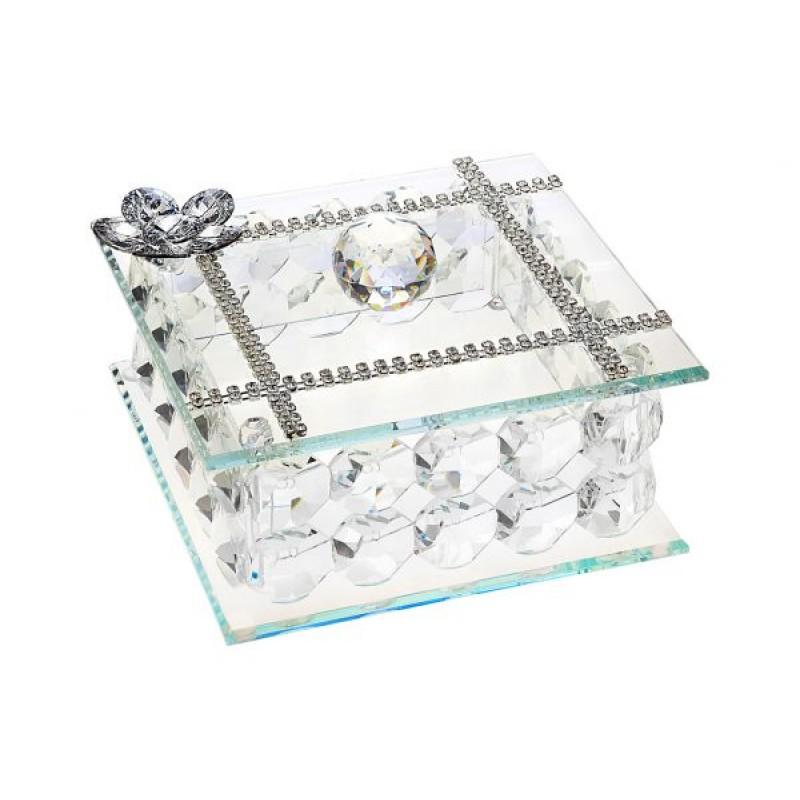 925 Argento Italian Silver Crystal Jewelry Box W. Swarovski Crystal #18143