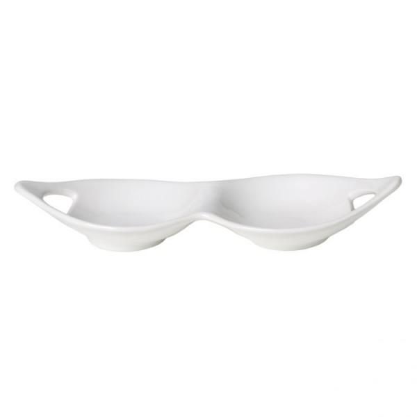 Cucina Italiana Set of 2 White Serving Bowl w. Handles #WO295