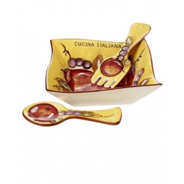 Cucina Italiana Ceramic  Deep Dish 3 Pc Salad Bowl Set #0794-534