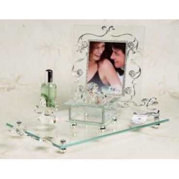 4 Pc Bedroom Vanity Set In Italian Argento 925 Silver #3001