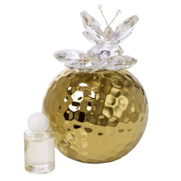 Gold Hammered Aromatherapy Diffuser W. Crystal Butterfly Top # 33133