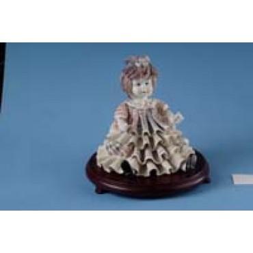 Porcelain Baby Girl Centerpiece on Wood Base #4D005