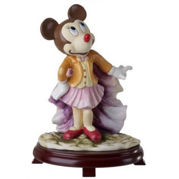 Ceramic Minnie Mouse Figurine On Cherry Wood Base Centerpieces