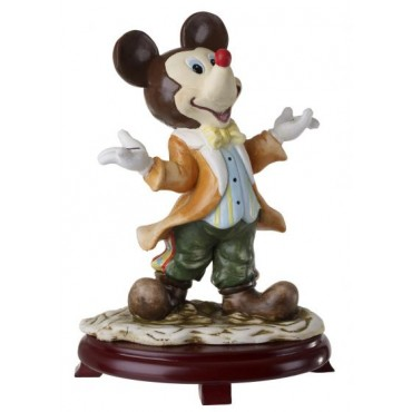 Ceramic Mickey Mouse Figurine On Cherry Wood Base
