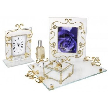 Italian 4Pc 18kt Gold Plated Bedroom Vanity Set #3000