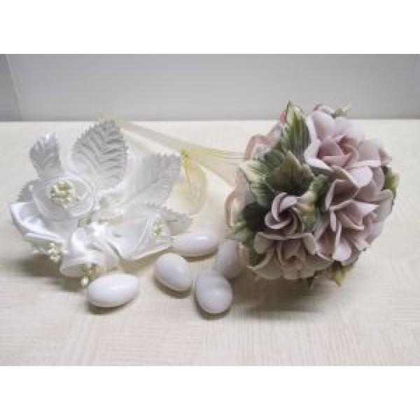Capodimonte Porcelain Bouquet With Glass Stem