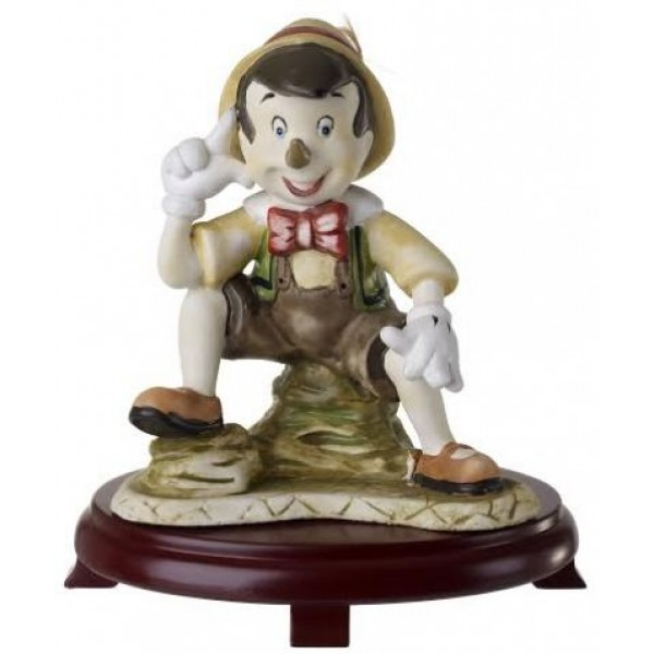 Ceramic Pinocchio Figurine On Cherry Wood Base Centerpieces
