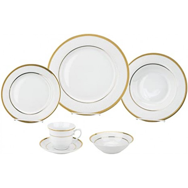 24 Piece Gold Porcelain Dinnerware Service for 4-Josephine