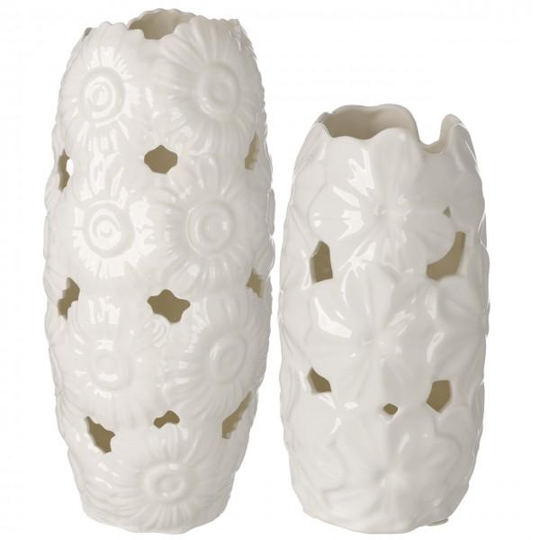 Ivory Porcelain 15' Vase W/ Embossed Daisy Decor #DC2652