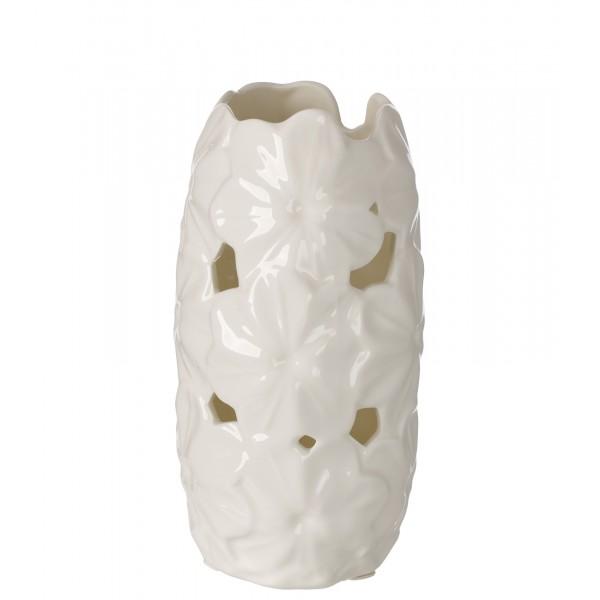 Ivory Porcelain Vase Pierced W/ Embossed Daisy Decor #DC2651