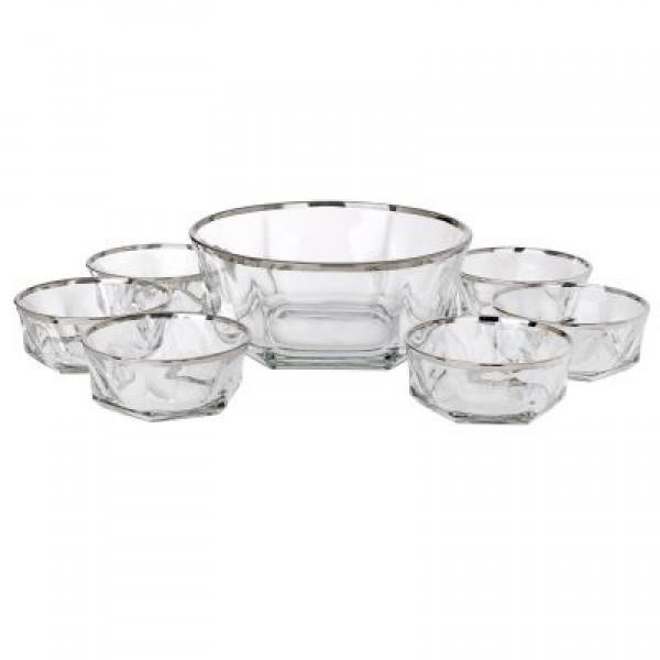 Italian Crystal 7 Piece Fruit Bowl Set With 925 Silver Trim