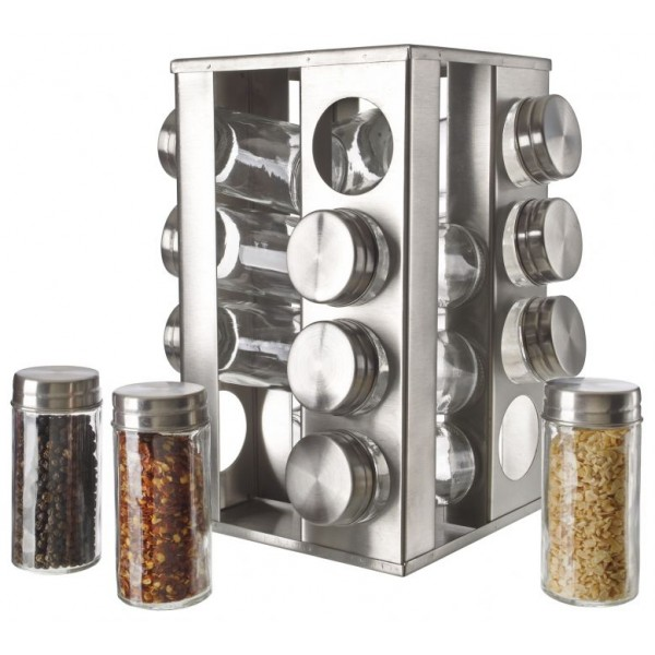 Stainless Steel 16pc Spice Jars w/ Rotating Rack  #2654