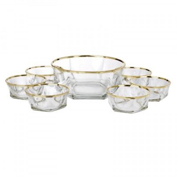 Italian Crystal 7 Piece Fruit Bowl Set W/ 18kt Gold Trim