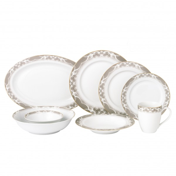 Lorren Home 50 Piece New Bone China Dinnerware Set Service for 8-Cashmere