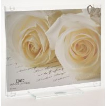 Photo Frame Adorned W/ Double Hearts in Swarovski Crystal Elements #DC2402