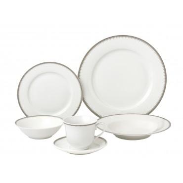 24 Piece Silver Porcelain Dinnerware Service for 4-Alyssa