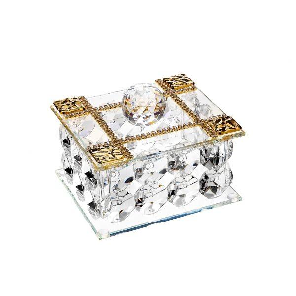 Italian 24% Crystal Jewelry Box w. 18kt Gold Plated #18138