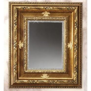Italian Wall Mirror 22 x 27 Gold Italian Trim W. Swarovski Crystal Borders