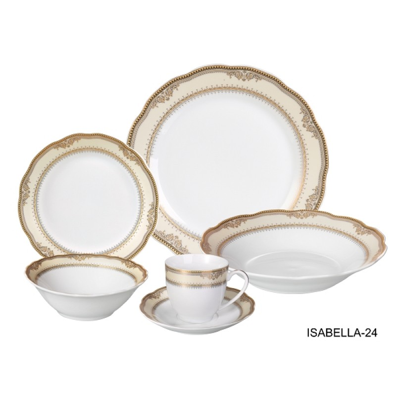 24 Piece Wavy Dinnerware-Porcelain-Srvice for 4-Tova